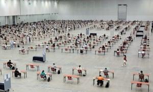 Socially distanced exams in South Korea
