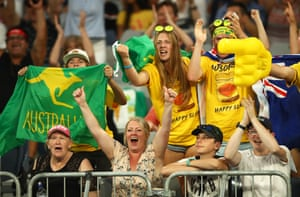 Fans show their support for John Millman as he takes on Roberto Bautista Agut.