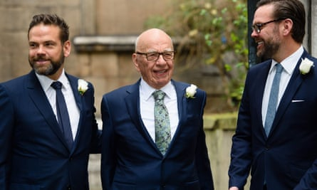 Rupert Murdoch with sons Lachlan and James