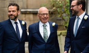 Rupert Murdoch flanked by his sons Lachlan (left) and James in 2016 after his marriage to Jerry Hall