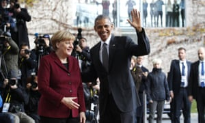 Merkel welcomes Obama at the German chancellory in Berlin.