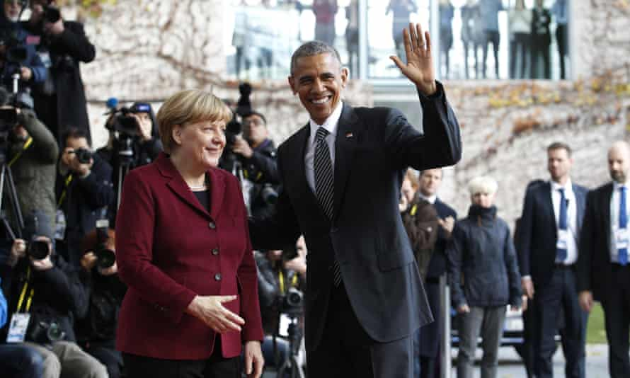 Obama with Angela Merkel in Berlin