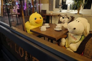 Plush toys are seen in a closed restaurant in Warsaw, Poland, on 11 April 2021. The Covid-19 related restrictions affected the hospitality sector from March to May 2020 and have now been in place since 24 October.