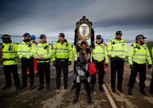 Frack Free Lancashire protestor Cheryl Atkinson demonstrating at a site at Little Plumpton, March 2017.