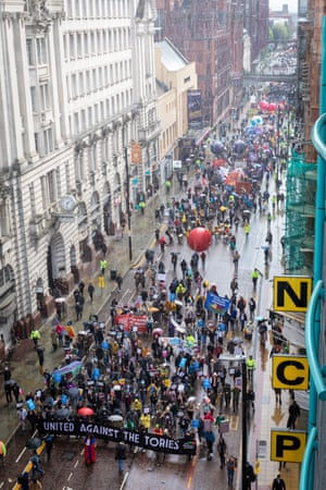 The Unite Against The Tories march outside the Conservative conference in Manchester today.