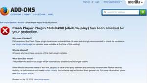 Flash blocked by Mozilla