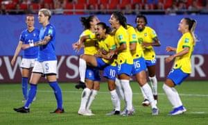Marta celebrates scoring Brazil's first goal.