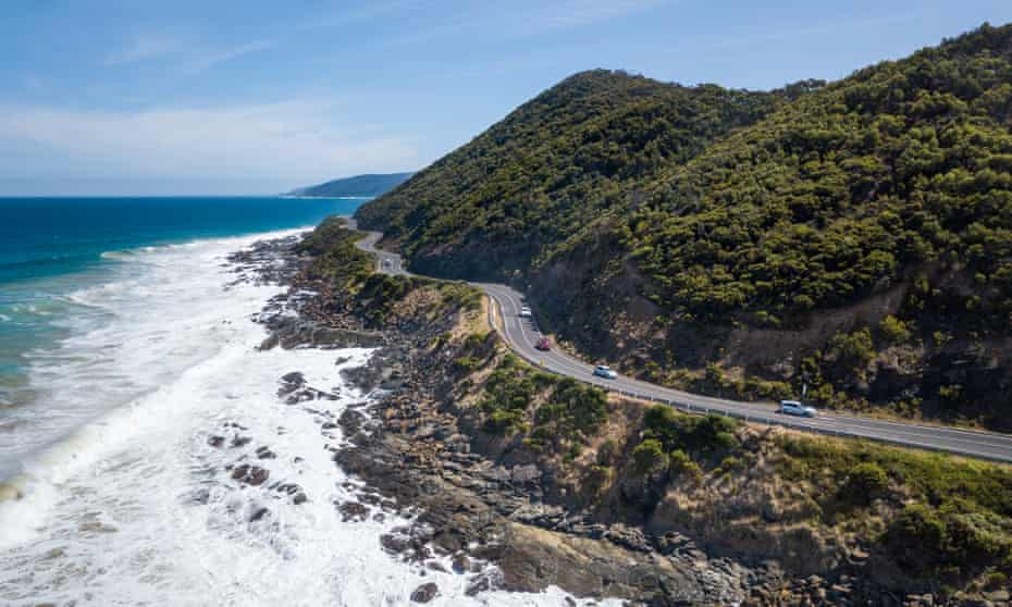 Scenic aerial drone picture of Teddy's Lookout and the Great Ocean Road in Victoria, Australia
