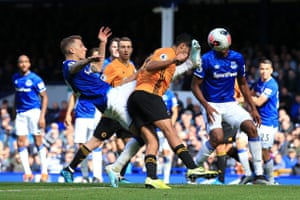 Raul Jimenez of Wolves got a boot to the face from Lucas Digne of Everton as he scored the visitor's second goal at Goodison Park. The sides had traded goals in a raucous encounter but Everton claimed all three points in the 80th minute courtesy of Richarlison's header.