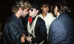 George Michael with Elton John, Andrew Ridgeley and Bernie Taupin at the 1985 Ivor Novello Awards