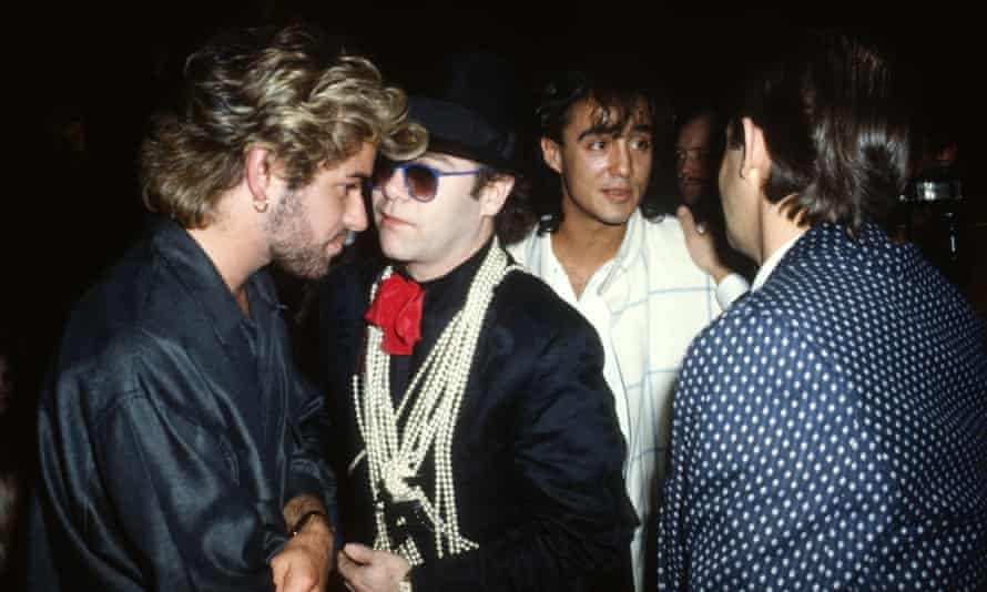 With George Michael, Andrew Ridgeley and Bernie Taupin in 1985.