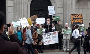 Climate change activists outside the Bank of England today