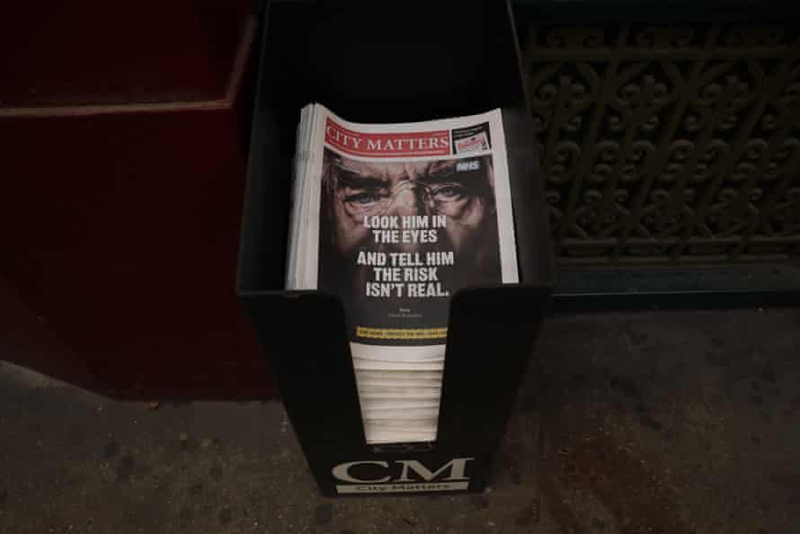 A stack of newspapers at Leadenhall Market in the City of London financial district of London, during England's third coronavirus lockdown,
