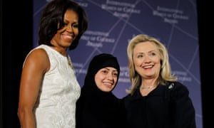 Activist Samar Badawi, pictured in 2012 with Hillary Clinton and Michelle Obama.