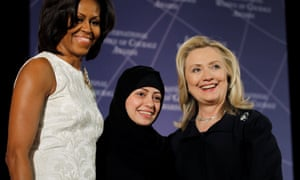 Samar Badawi with Hillary Clinton and Michelle Obama