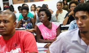 Students from the Steve Biko Institute, Salvador, gather during a lecture. The Institute offers a free year-long preparatory course for black students from low-income families to prepare them for university entrance exams.