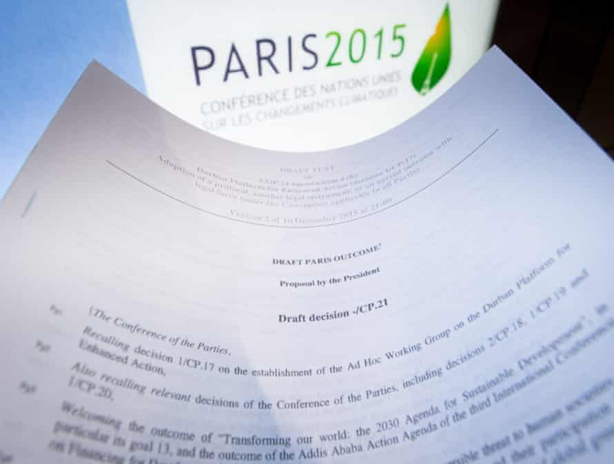 A draft for the outcome of the COP21 United Nations conference as Paris talk near an agreement.