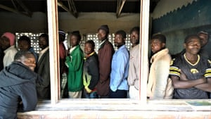 Queuing to register, Malawi