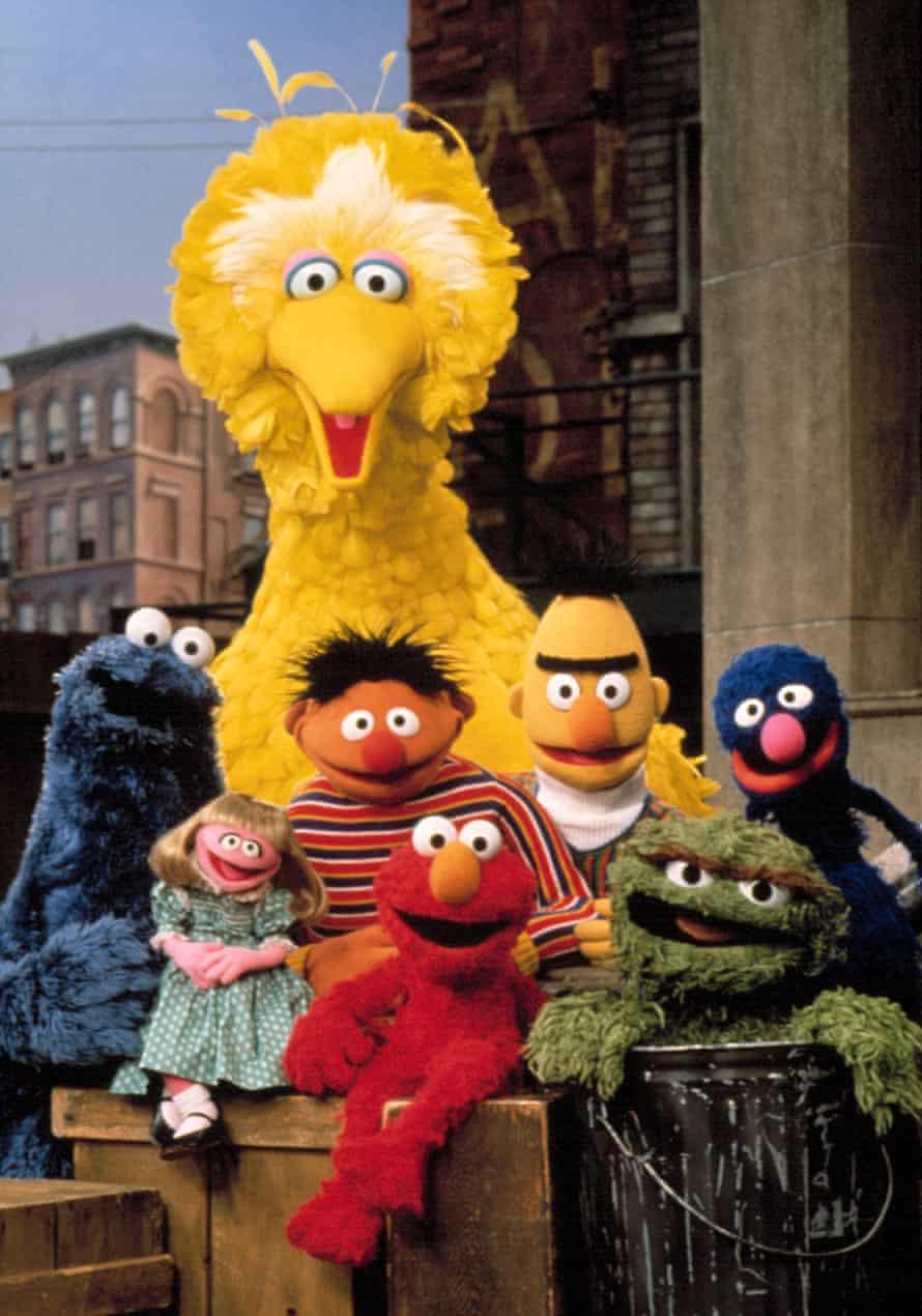 Cookie Monster, Prairie Dawn, Big Bird, Ernie, Elmo, Bert, Oscar the Grouch and Grover in Sesame Street