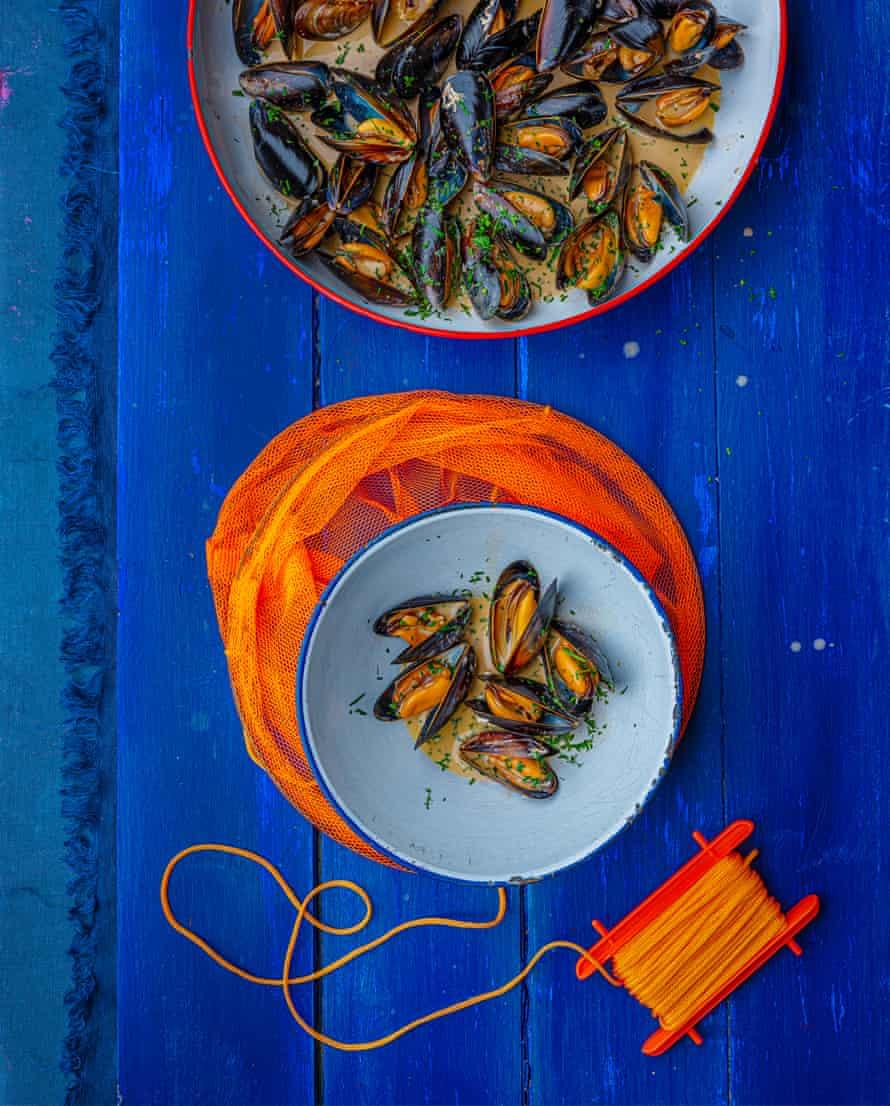 Pam Brunton's mussels, fino sherry and burnt cream.