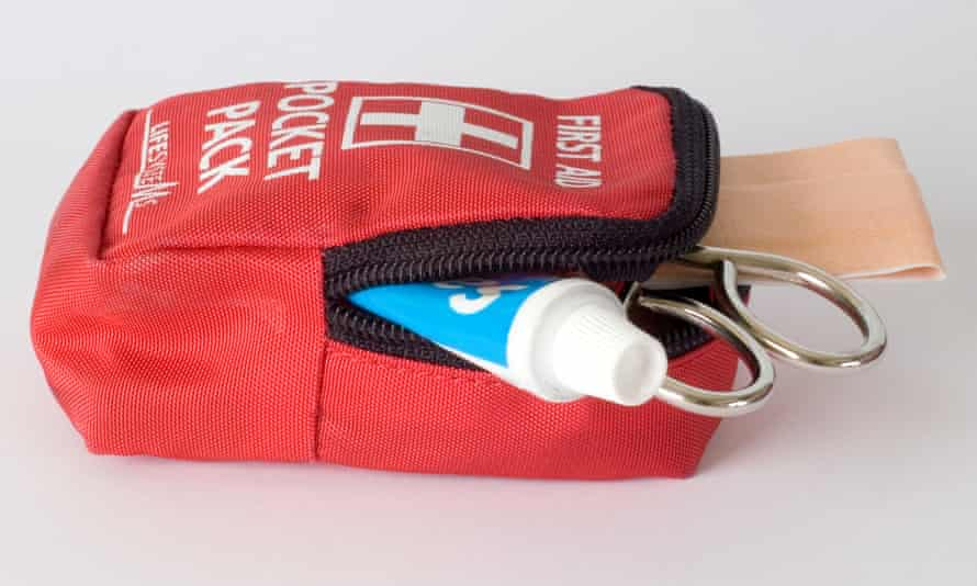 First Aid kit. Not one that'll fit in your shorts back pocket, mind
