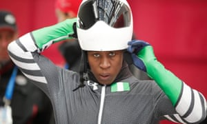 Simidele Adeagbo of Nigeria at the Olympic Sliding Centre in Pyeongchang, South Korea