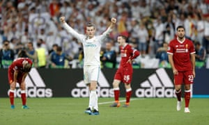 Gareth Bale celebrates victory for Madrid on the final whistle.