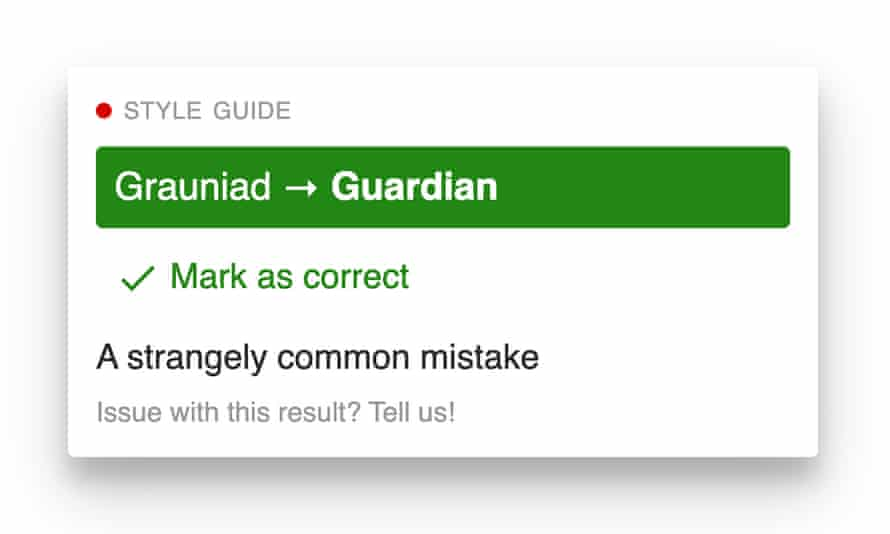 A dialog showing a spelling correction from 'Grauniad' to 'Guardian'