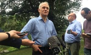 Malcolm Turnbull speaks to the media in Central Park, New York