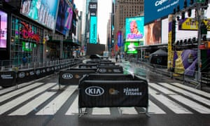 Barricades are set up to maintain social distancing before the New Year's Eve celebration in Times Square, New York