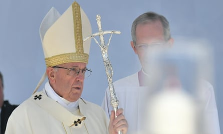 Pope Francis performing a mass in UAE