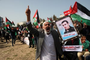 Gaza City, Gaza Strip Palestinians shout slogans