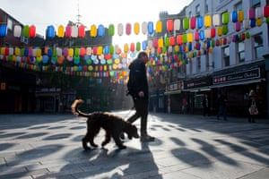 Peter and his dog Digby on their morning walk through Soho