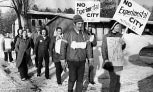 People protest against the Minnesota Experimental City project, an attempt to create a full-size city from scratch in the isolated woods of northern Minnesota in the 1960s.