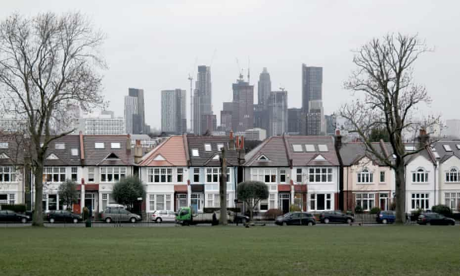 The Vauxhall cluster seen from Ruskin Park in south London.