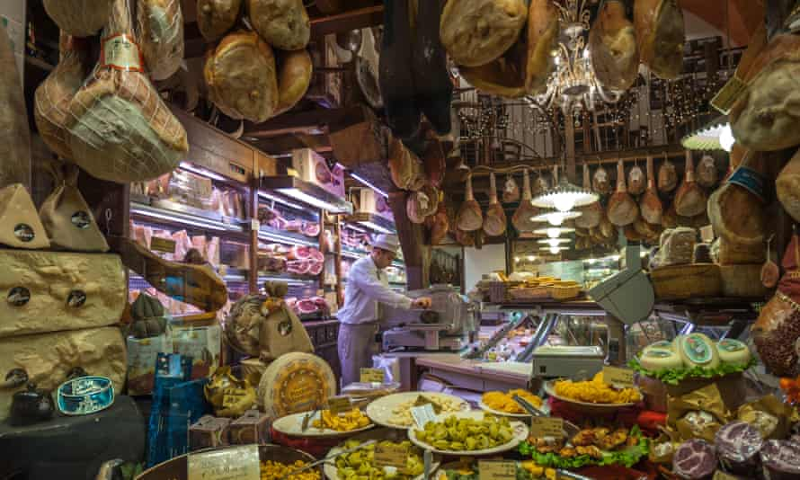 Meat on sale in Bologna in Italy.