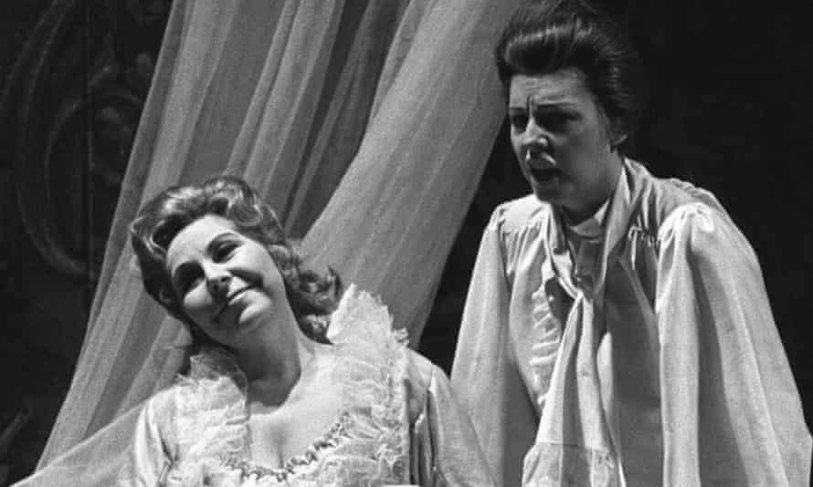 Christa Ludwig as the Marschallin, left, and Yvonne Minton as Oktavian in Der Rosenkavalier at the Paris Opera, 1976.