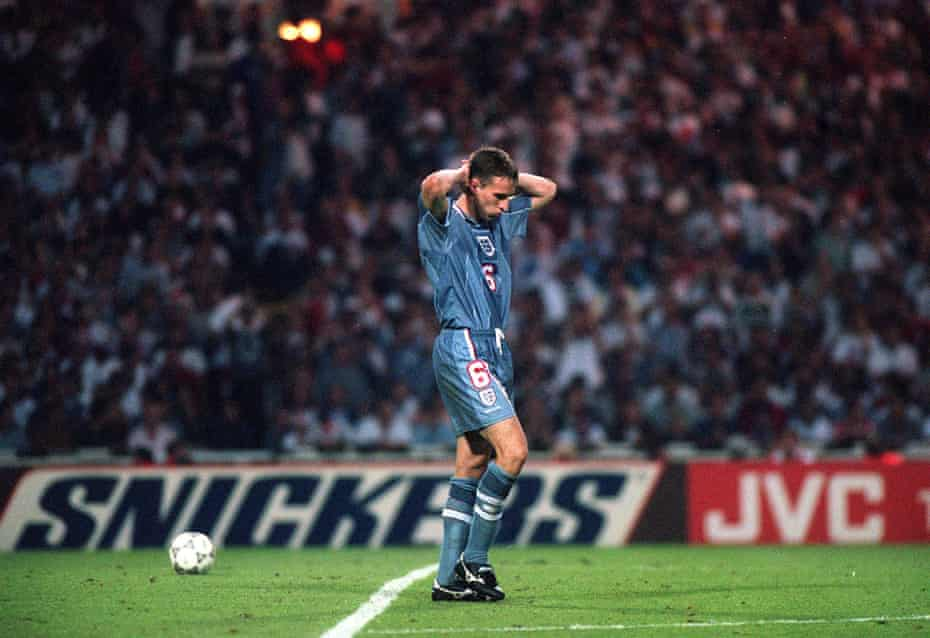 Gareth Southgate walks away after missing the penalty that sent England out of Euro 1996 in the semi-final against Germany