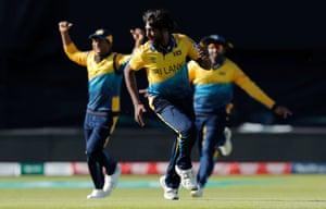 Pradeep celebrates taking the final England wicket.