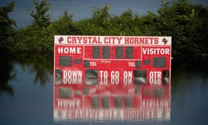 Floodwater from the Mississippi River covers the Crystal City high school football field in Missouri, May 2019.
