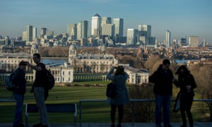 The Canary Wharf skyline viewed from Greenwich Park.