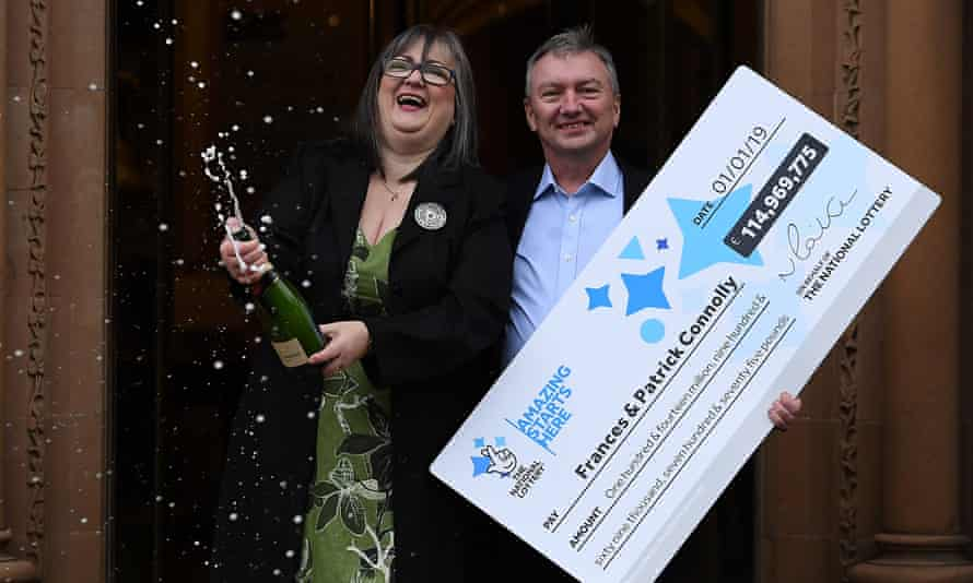 Frances and Patrick Connolly celebrate winning the EuroMillions Jackpot, January 2019