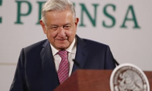 Mexican President Andres Manuel Lopez Obrador smiles during his morning press conference at the National Palace in Mexico City, Mexico, 08 February 2021.