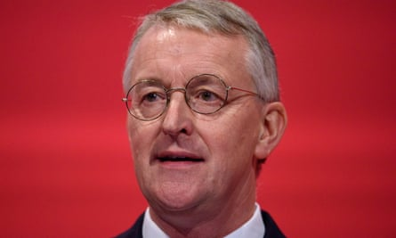 The shadow foreign secretary, Hilary Benn, speaks to Labour conference delegates on Monday.