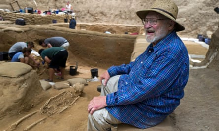 Lawrence Stager at the site of the excavation in the Israeli port city of Ashkelon