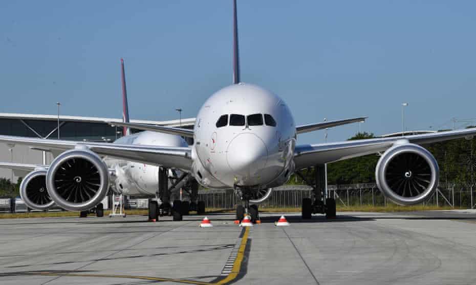 Grounded Qantas planes at Brisbane airport