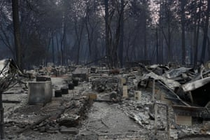 A view of homes destroyed by the Camp Fire are seen in Paradise