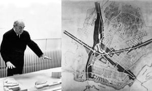 Alvar Aalto's reindeer street plan fits the geography of the city, with the city's football stadium as its eye