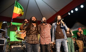 Reggae brothers … from left: Ky-Mani, Damian and Julian Marley perform at Marley 75 in Kingston, Jamaica.