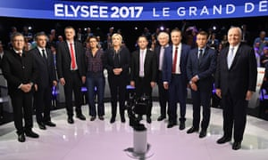 Ten of France's 11 presidential candidates line up before Tuesday night's live TV debate